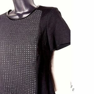 Vince Camuto Short Sleeve Top Faux Leather texture